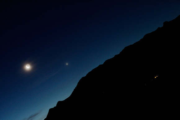 Moon and Venus Rise over Peloncillo Mountains